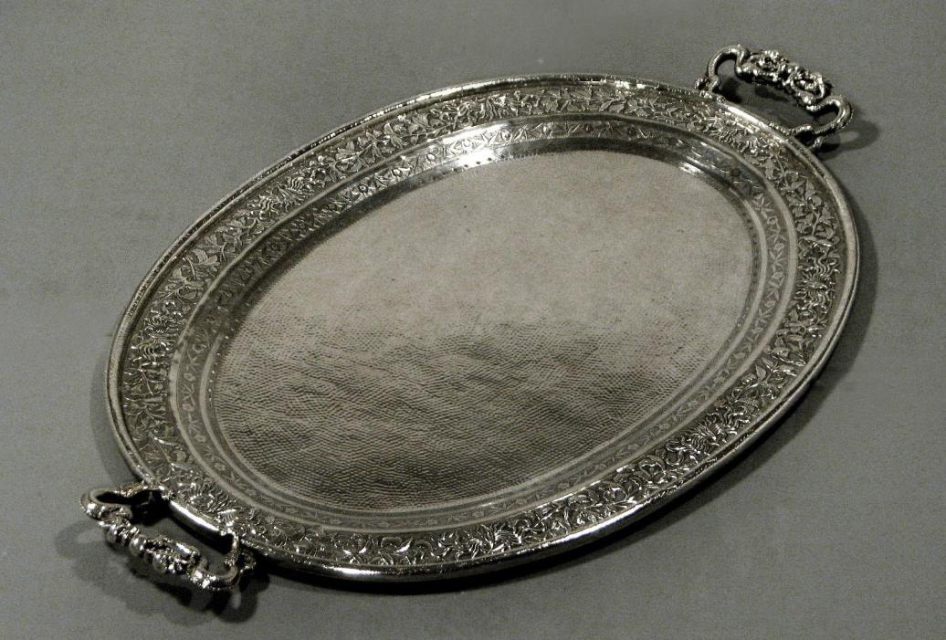 Chinese Export Silver Tea Tray      DRAGONS              Was  $4900  Now  $4200