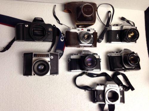 Assorted Old Parts Cameras Pentax Yashica Pentina Nikon Canon Petri+