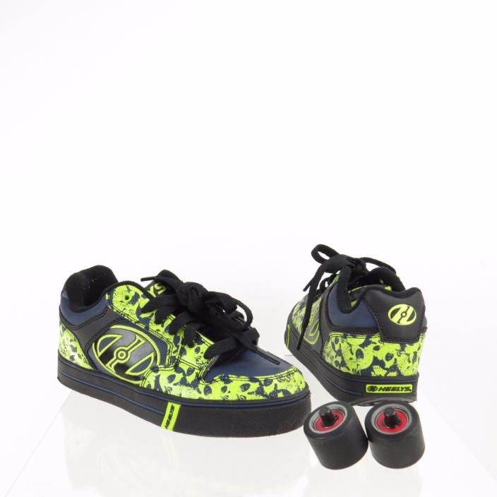 Kid's Heelys Motion Plus Shoes Black Green Skull Youth Wheel Shoes Size 3 Y