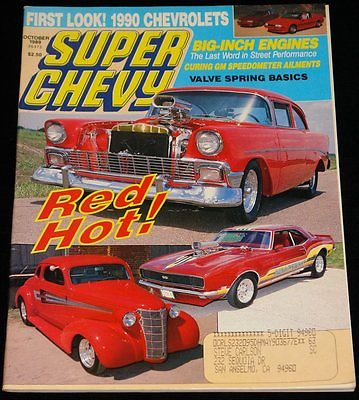 OCTOBER 1989 SUPER CHEVY MAGAZINE '56 210, '68 RS/SS CAMARO, '38 COUPE