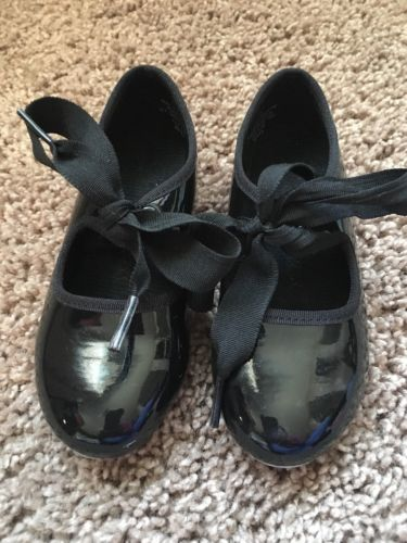 Toddler Girls Tap Shoes Black Tie Size 7.5 GUC