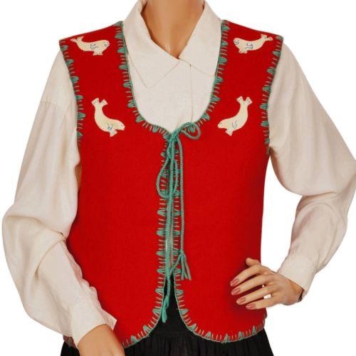 Vintage Inuit Red Wool Vest Handcrafted by Canadian Eskimos Ladies Medium