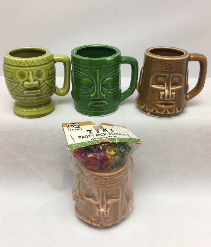 Mini Tiki Mug Shot Glasses -Toothpick Holders