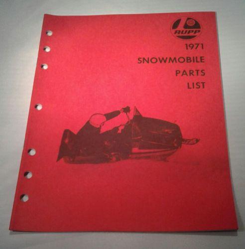 Vintage 1971 RUPP PARTS LIST Catalog  Snowmobile BOOK nice ORIGINAL