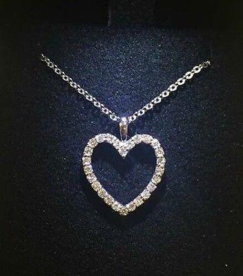 Beautiful Heart Diamond Pendant 14k 27 Diamonds 0.40carats