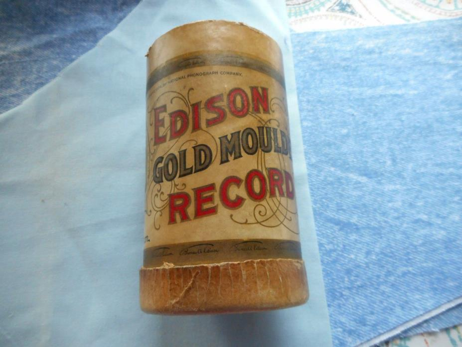 EDISON GOLD MOULDED CYLINDER  RECORD EMPTY CARDBOARD CONTAINER
