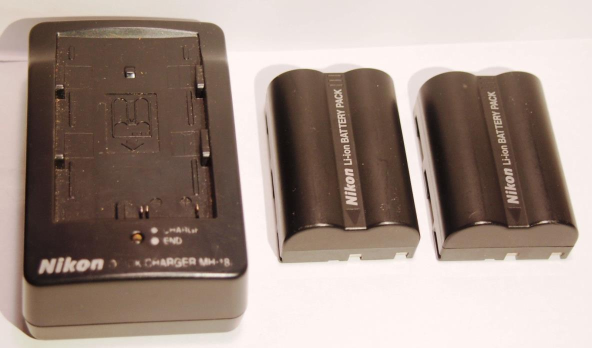 (2) Genuine Nikon EN-EL3a Batteries Plus Nikon MH-18a Quick Battery Charger