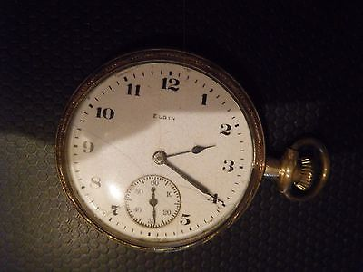 Antique Elgin pocket watch - white face - goldtone case