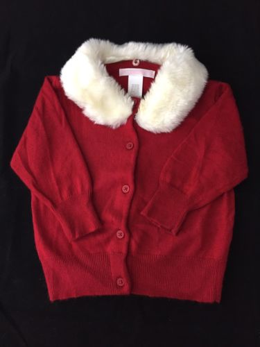 Janie and Jack fur trimmed red cashmere angora blend cardigan  6 To 12 months EU