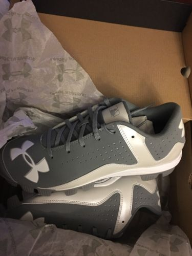 New Mens Under Armour UA Leadoff Low RM Baseball Cleats Shoes Gray White