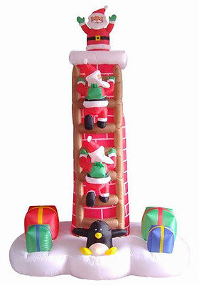 ANIMATED SANTA TRIO CLIMBING CHIMNEY LADDER CHRISTMAS  INFLATABLE 7FT OUTDOOR BS