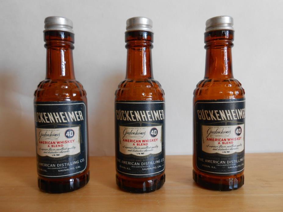 Set of 3 Salt and Pepper Shakers. Guckenheimer American Whiskey Blend Bottles