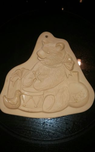 Vtg Brown Bag Cookie Stoneware Clay Mold 1985 Teddy Bear Toys Christmas