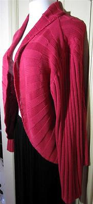 Chico Addition Size 3 Red Cotton Cable Design Knit Sweater Rounded Hemline