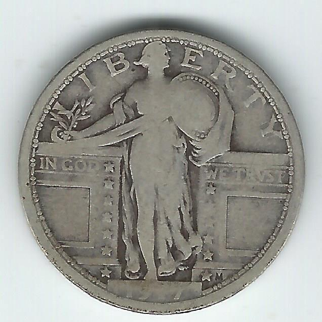 1917 Type 1 Standing Liberty Quarter Good+