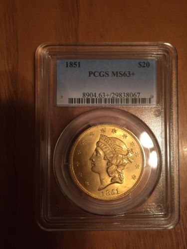 1851 Liberty Gold $20 PCGS MS63+ Super Rare