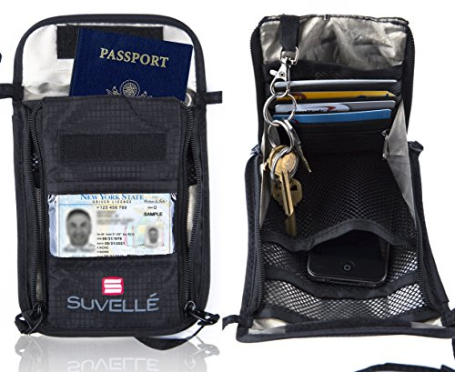 Suvelle RFID Travel Neck Stash pouch, Passport Holder, Hidden Wallet