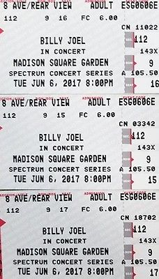 BILLY JOEL MSG 6/6/1, 3 TICKETS, REAL 4TH ROW CENTER, FULL VIEW, REAR, AISLE