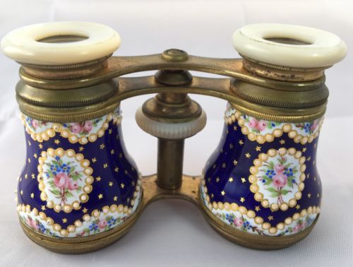Antique French Paris Cobalt Blue Gold Star Hand Painted Enamel Opera Glasses