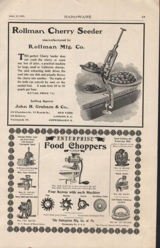 1903 ROLLMAN CHERRY SEEDER ENTERPRISE FOOD CHOPPER AD