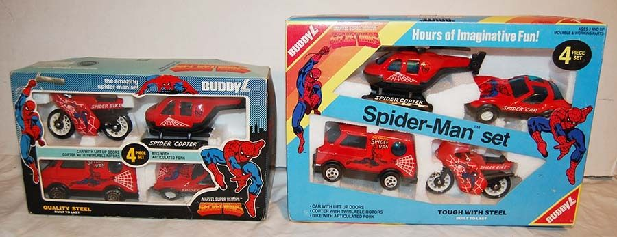 Two (2) 1984 SPIDER-MAN SECRET WARS Sets - MOTORCYCLE, VAN, HELICOPTER, RACE CAR