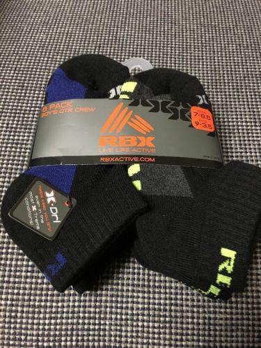 RBX Boy's 6 Pack Quarter Crew Socks Shoe Size 9-3.5