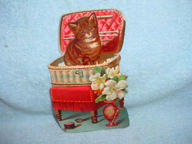LARGE VICTORIAN DIE CUT - CAT IN SEWING BASKET