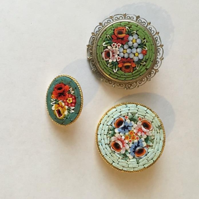 Vintage lot of 3 micro mosaic brooch pin Italy green