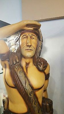 Indian statue holding cigars wooden unique hand carved 6.5 ft Tall