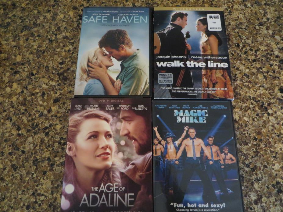 LOT OF 4 DVD'S SAFE HAVEN, AGE OF ADALINE, MAGIC MIKE & WALK THE LINE
