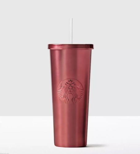 BNIB Starbucks 24 oz Christmas PINK Stainless Steel Cold Cup Venti 2016