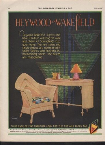 1930 HEYWOOD WAKEFIELD REED FURNITURE HOUSEHOLD DECOR