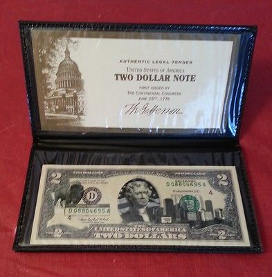Oklahoma  $2 Two Dollar Bill - Overlaid State Landmark - Uncirculated Authentic