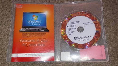 New Windows 7 Professional 32 Bit DVD Microsoft Operating System