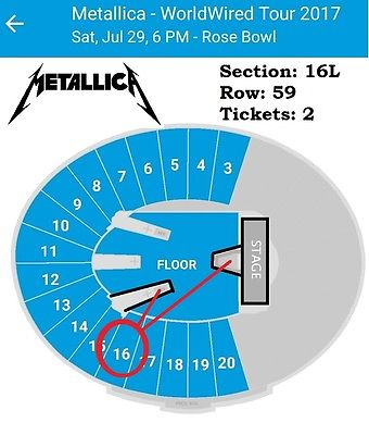 Metallica w Avenged Sevenfold 2 Tickets HardWired Tour Rose Bowl Pasadena 7/29