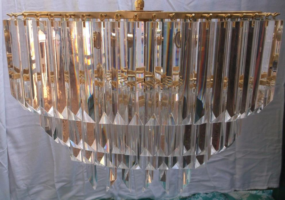 Beautiful Vintage Camer Murano Venini 106 Rods 4 Tiers Crystal Chandelier Gold