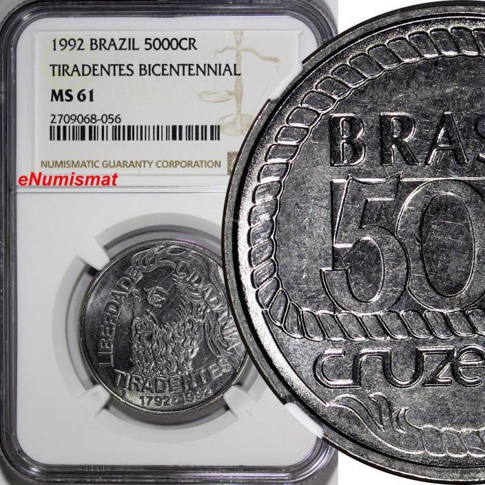 Brazil 1992 5000 Cruzeiros NGC MS61 200th Anniversary Tiradentes' Death KM# 625