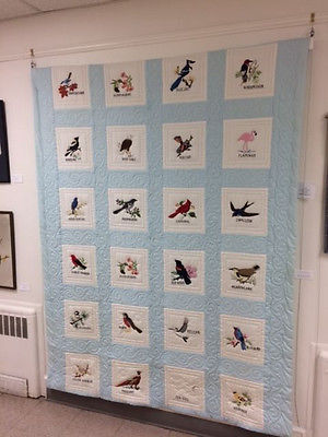 Vintage Quilt Hand Embroidered State Birds