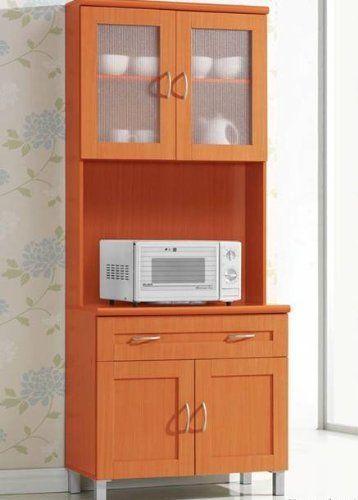Tall Kitchen Cabinet Storage Microwave Cart Drawer Stand Shelf Furniture Cherry