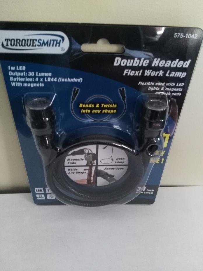 TorqueSmith Double Headed Flexi Work Lamp-LED 34 inch-Batteries Included-New