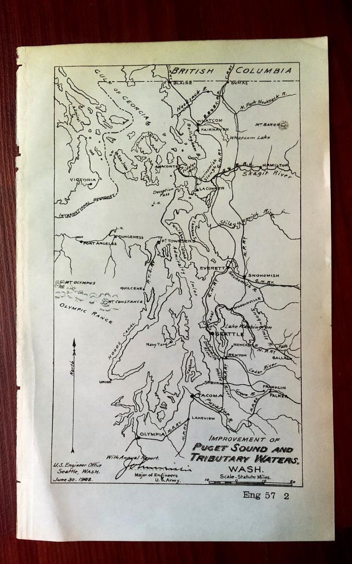 1902 Map Showing Improvement of PUGET SOUND and TRIBUTARY WATERS WA