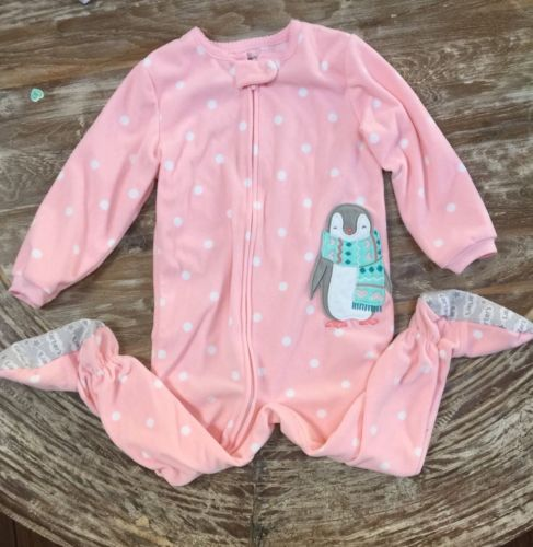 CARTER'S GIRL Size 3T Fleece Footed Pajama/PJ/Sleeper, Pink