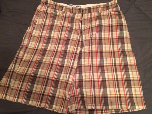 Croft And Barrow Sz 16 Stretch Plaid Bermuda Shorts Womens