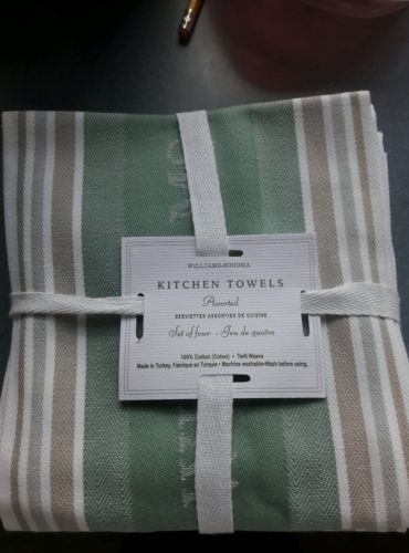 Williams-Sonoma Logo Kitchen Towels Mint Green New Set Of 4