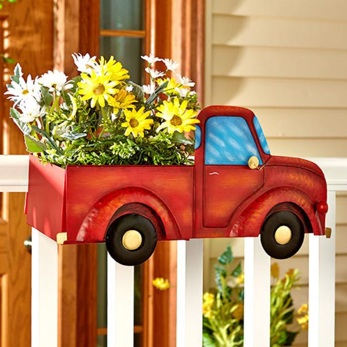 Hanging Flower Planter Outside Balcony Decoration Vintage Plant Herbs Porch Deck