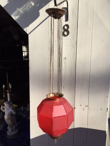 Rare Victorian Pull Down Hanging Library Lamp With Red Geometrical Shade