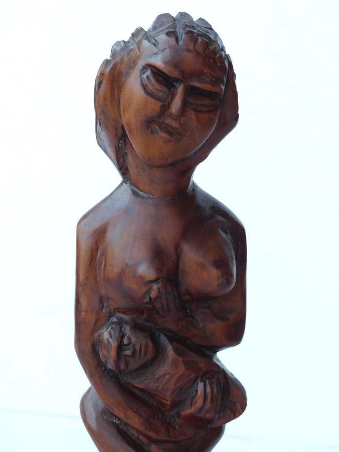 MID CENTURY MOTHER & NURSING CHILD WOOD SCULPTURE SIGNED INITIALS B.R. ROSENTHAL