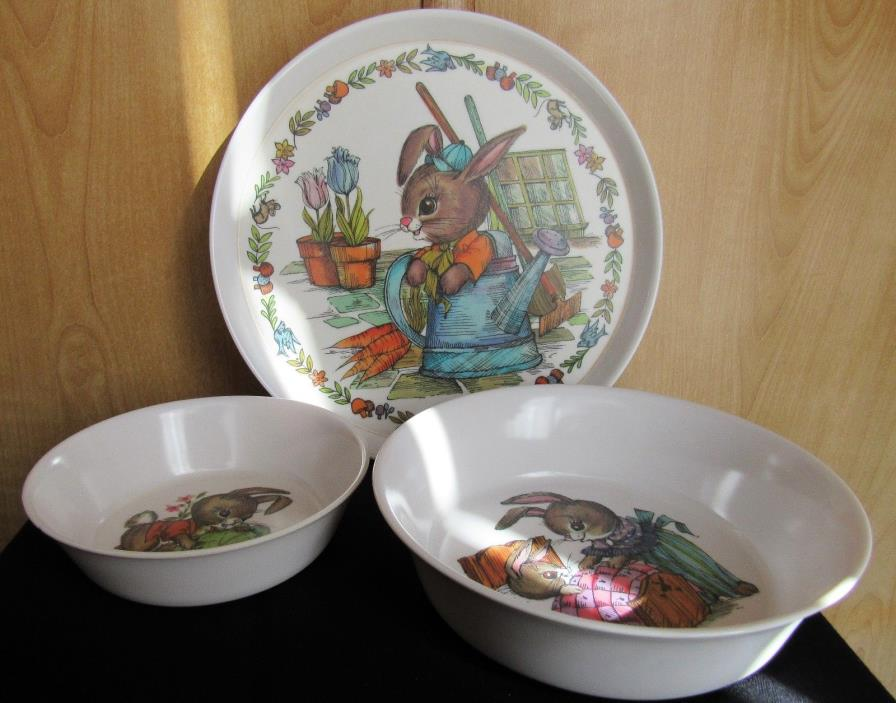 BABY TODDLER DISHES BUNNY RABBIT PLATE SMALL & LARGE BOWL ONEIDA PERFECT