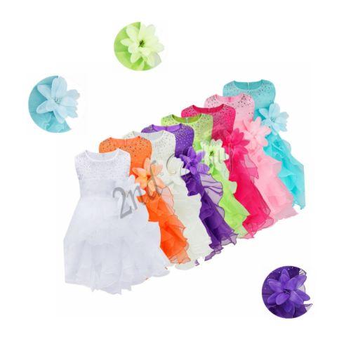 Infant Baby Girl Birthday Wedding Pageant Party Princess Tutu Flower Dress US !!