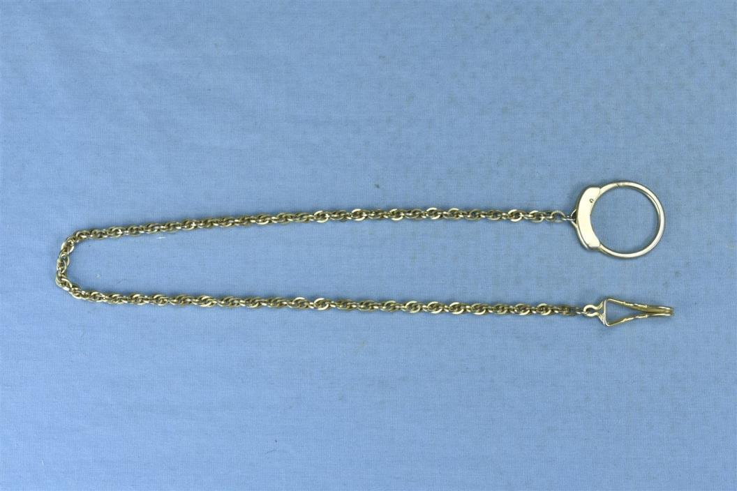 Vintage SWANK SIGNED GOLD TONE MAN'S POCKET WATCH CHAIN FOB JEWELRY OLD #03352